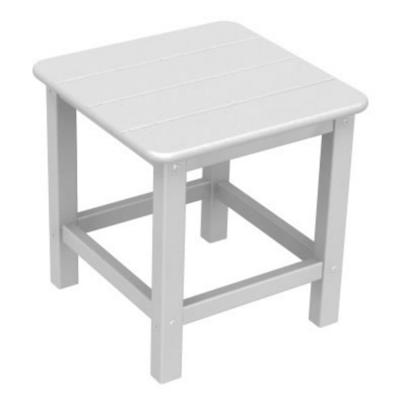 Plastic Wood Seashell Side Table 18 x18 : White Patio Furniture