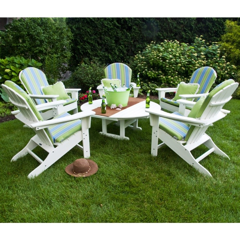Plastic Wood South Beach Adirondack Chat Set 6 Piece