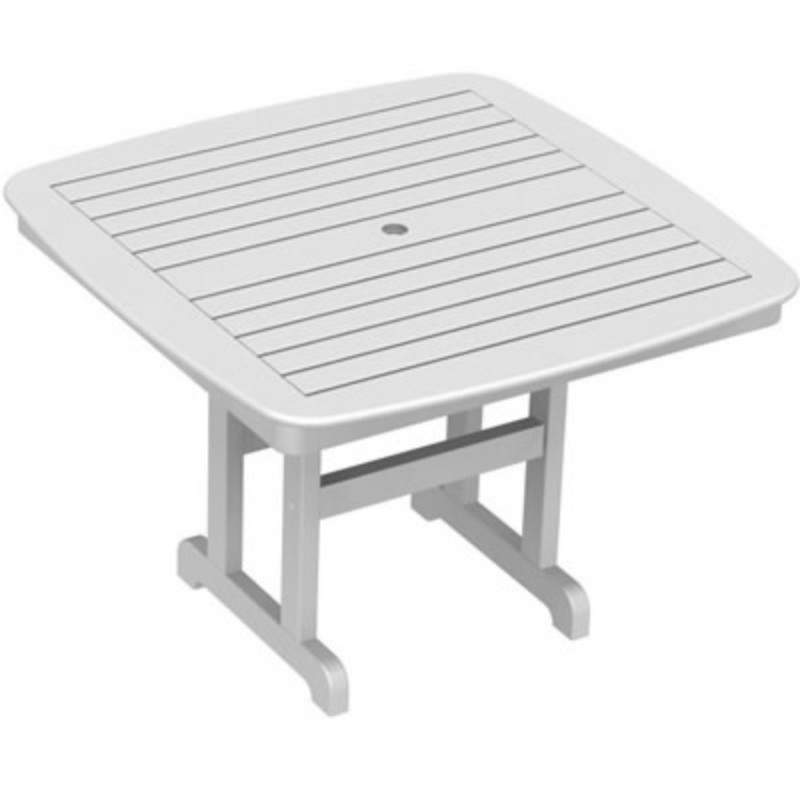 Plastic Wood Nautical Square Dining Table 44 inch : White Patio Furniture