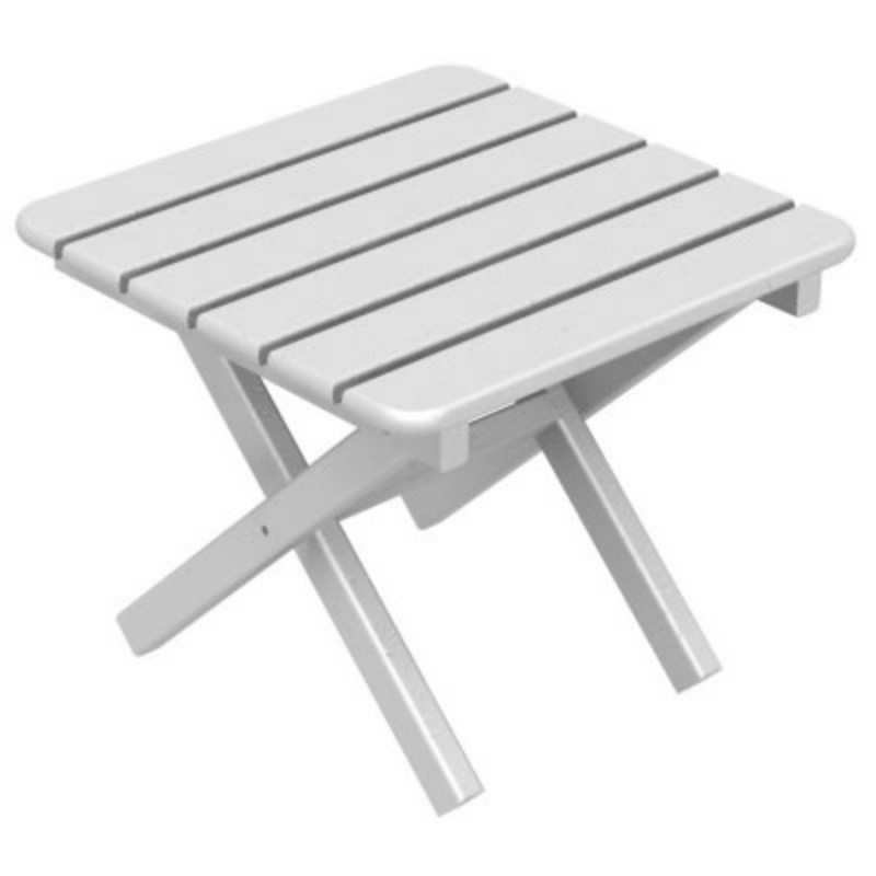 Plastic Wood Square Side Table Folding : White Patio Furniture