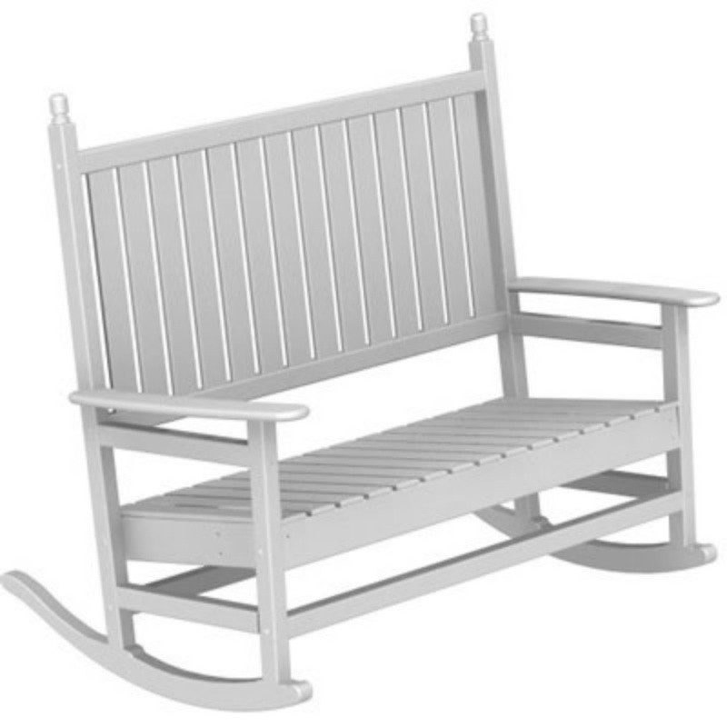 Black Plastic Lawn Chairs: Polywood Tradewind Outdoor Double Rocker