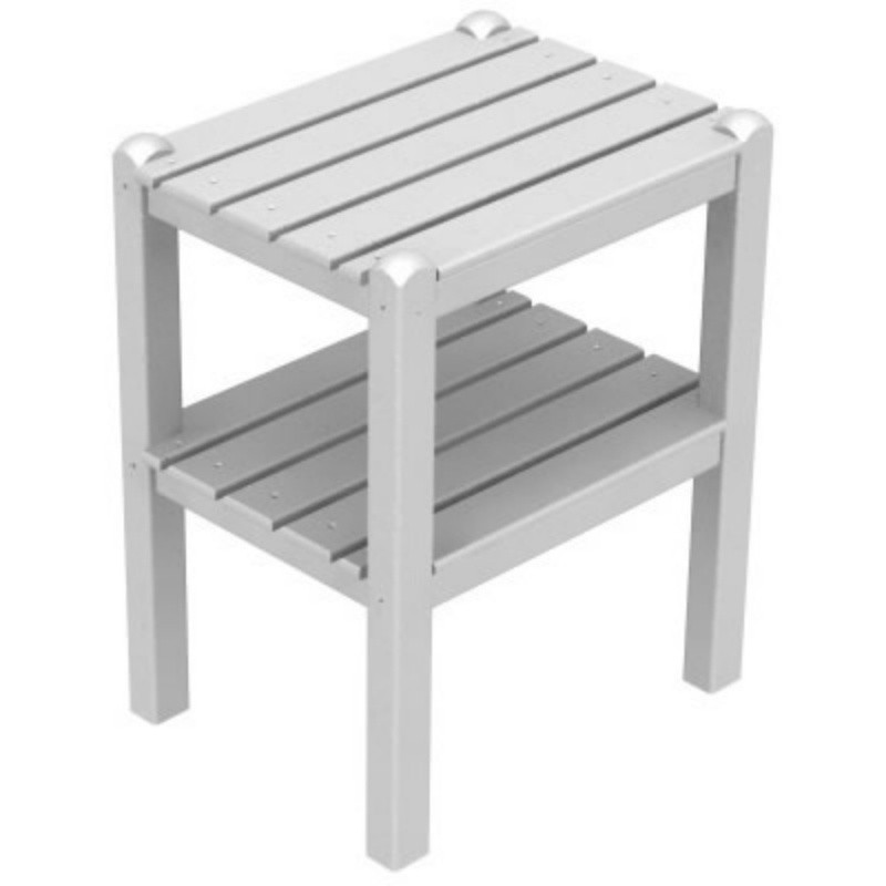 Plastic Wood Two Shelf Side Table 14x18 : White Patio Furniture