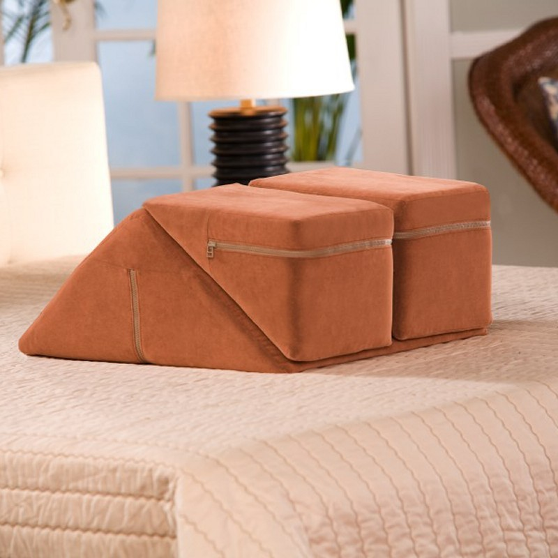 Armrest Bed Pillows: Leg Rest Cushion System Tan