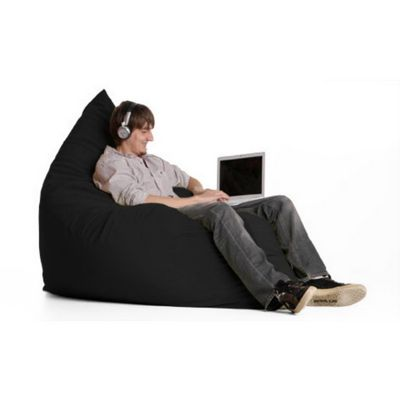 Jaxx Pillow Sac Bean Bag Chair Microsuede Black FL-ZJF-PIL-MS01