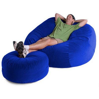 Jaxx Sphere Bean Bag Chair XL With Ottoman 6 Feet Twill