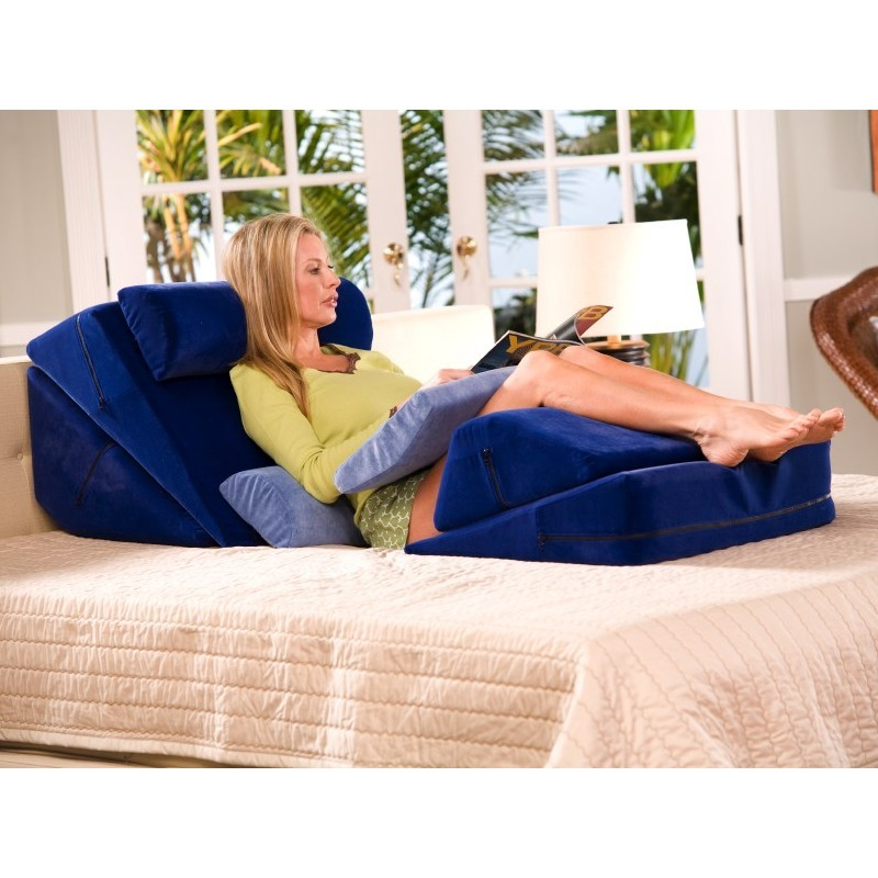 Back Rest: Memory Foam Bed Rest Wedge System Blue