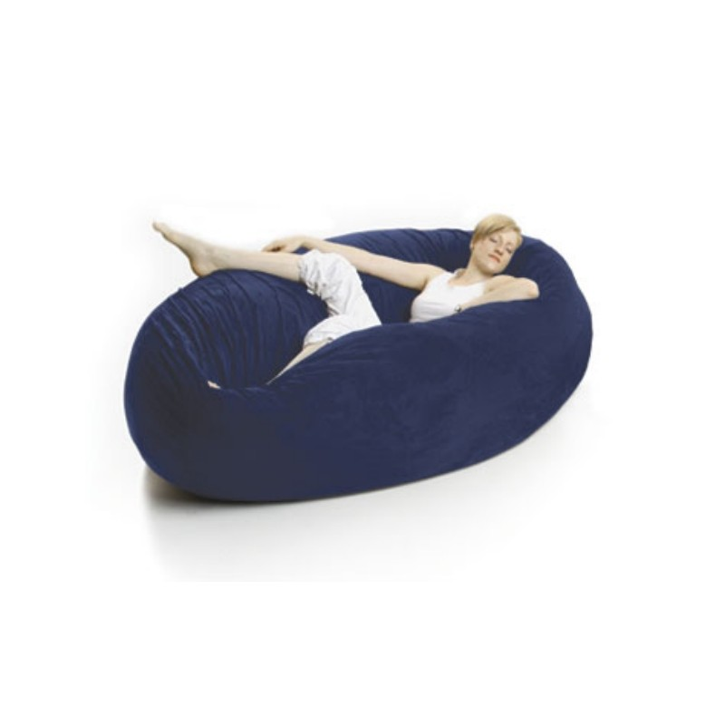 Blue Bean Bags: Zak Single Cocoon Bean Bag Bed Microsuede Navy Blue