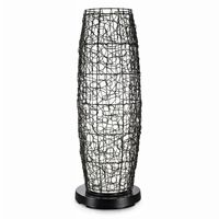 PatioGlo LED Outdoor Floor Lamp White with Walnut Wicker Cover PLC-68850