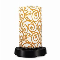 PatioGlo LED Table Lamp, Bright White, Orange Swirl Fabric Cover PLC-73800