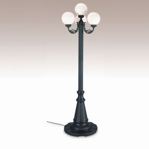 European 4 Globe Portable Patio Lamp Black Post White Globes PLC-00370