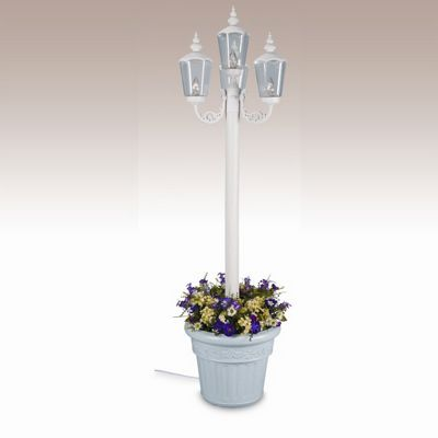 Cambridge Park Style Four Lantern Planter Patio Lamp White PLC-00431