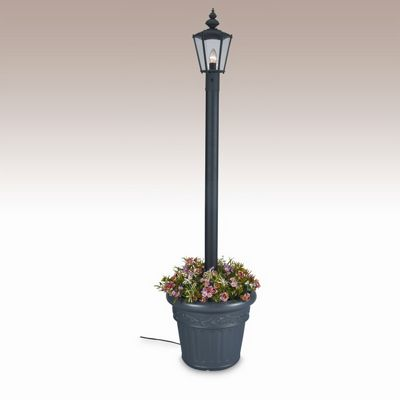 Cambridge Park Style Single Lantern Planter Patio Lamp Black PLC-00410