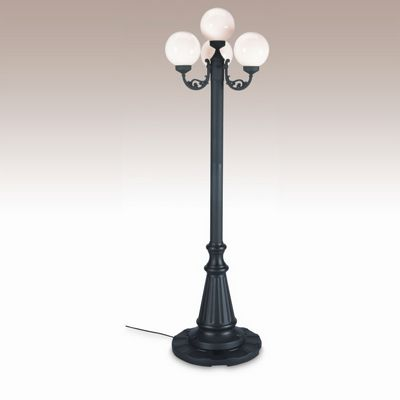 European 4 Globe Portable Patio Lamp Black Post White