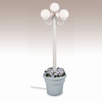 European 4 Globe Portable Planter Patio Lamp White Globes Black PLC-00390