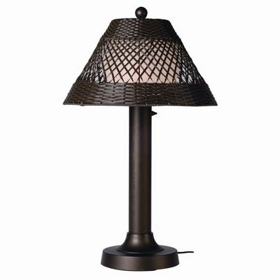 Java Outdoor Table Lamp 34 × 3 inches Walnut Wicker PLC-15257