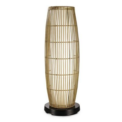 PatioGlo LED Outdoor Floor Lamp White with Resin Bamboo Cover PLC-65850