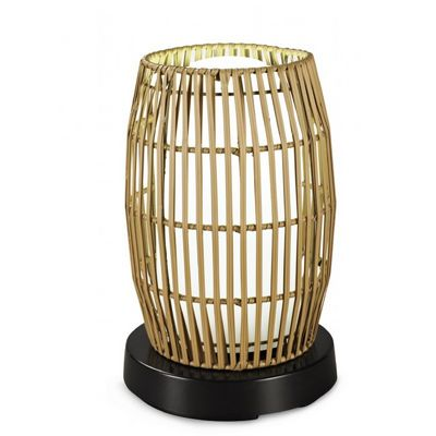 PatioGlo LED Outdoor Table Lamp White with Resin Bamboo Cover PLC-65800