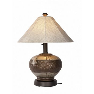 Phoenix Bronze Outdoor Table Lamp with Silver Linen Sunbrella Shade PLC-27916
