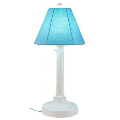 "San Juan 30"" Table Lamp with White Body & Canvas Aruba Sunbrella Shade Fabric PLC-38121"