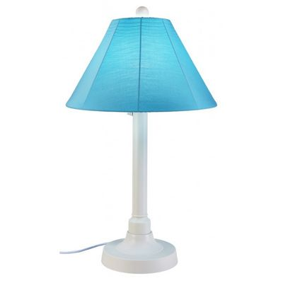 "San Juan 34"" Table Lamp with White Body & Canvas Aruba Sunbrella Shade Fabric PLC-38111"