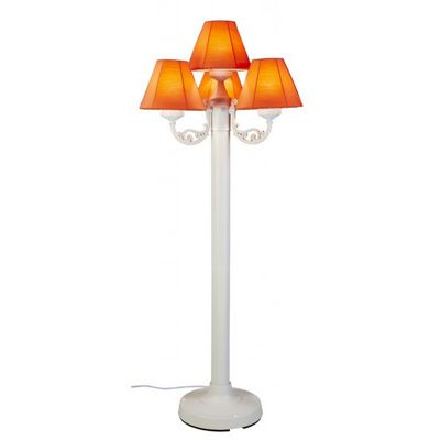 Versailles Floor Lamp with White Body and Canvas Melon Sunbrella Fabric Shades PLC-35451