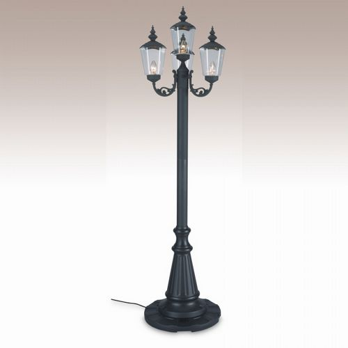 Cambridge Park Style Four Lantern Patio Lamp Black PLC-00440-BL