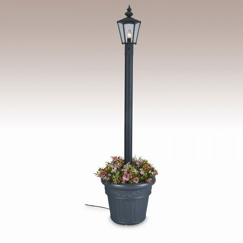 Cambridge Park Style Single Lantern Planter Patio Lamp Black PLC-00410-BL