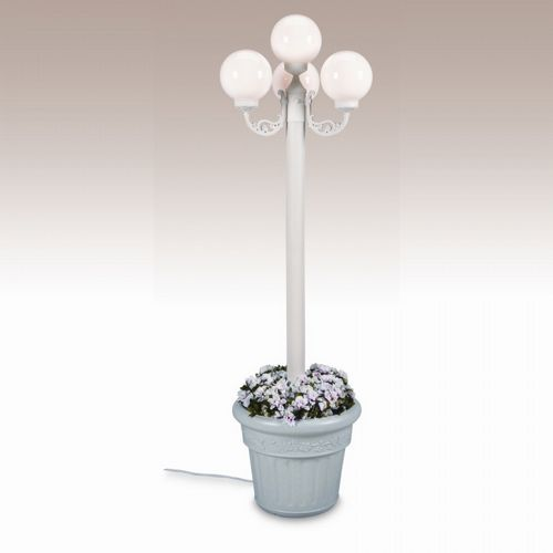 European 4 Globe Portable Planter Patio Lamp White Globes Black PLC-00390-BL