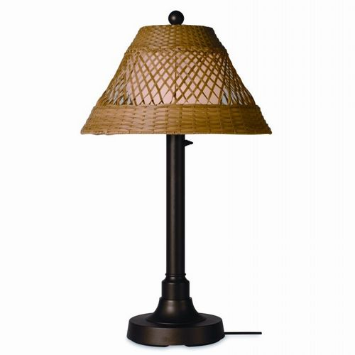 Java Outdoor Table Lamp 34 × 2 inches Honey Wicker PLC-16217-BR