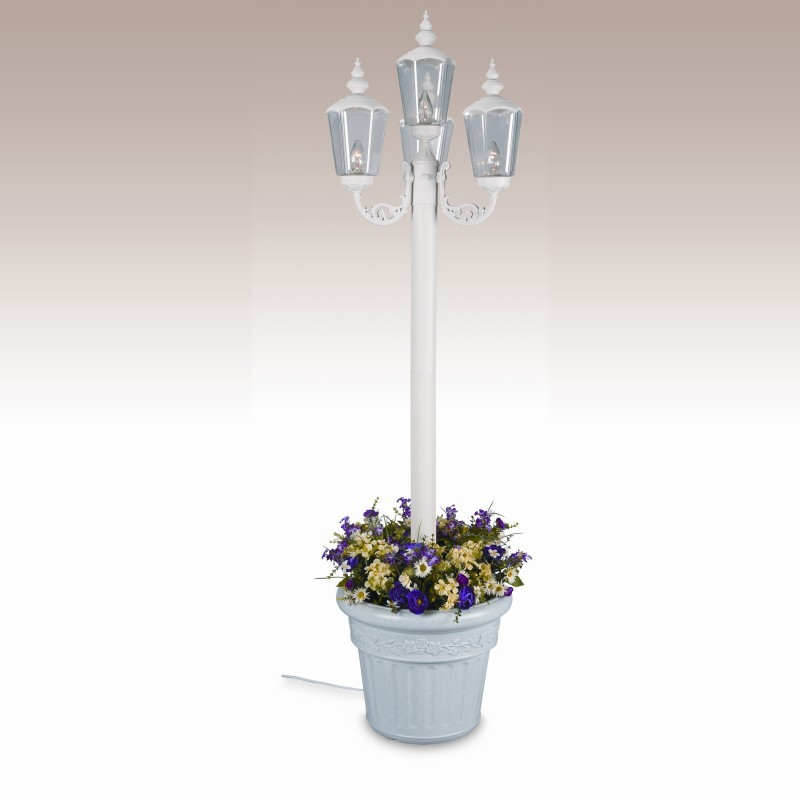 Cambridge Park Style Four Lantern Planter Patio Lamp White