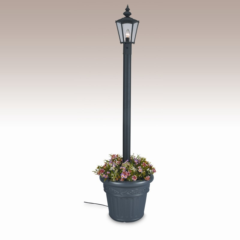 Street Lamp Post Prop: Cambridge Park Style Single Lantern Planter Post Lamp White