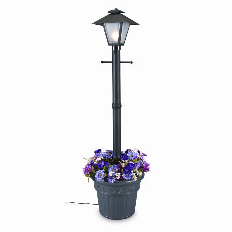 Cape cod lantern portable planter patio lamp black for Outdoor electric yard lights