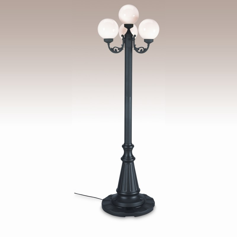 European 4 Globe Portable Patio Lamp Black Post White Globes