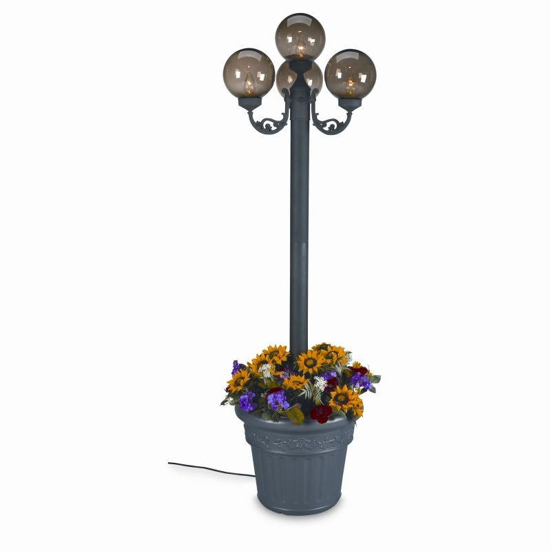 Post Mount Light Fixtures in Riverside California: European 4 Globe Portable Planter Pole Lamp Bronze Globes