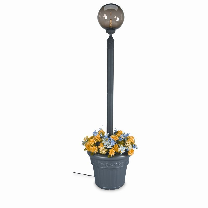 European Globe Portable Planter Patio Lamp Bronze Globe