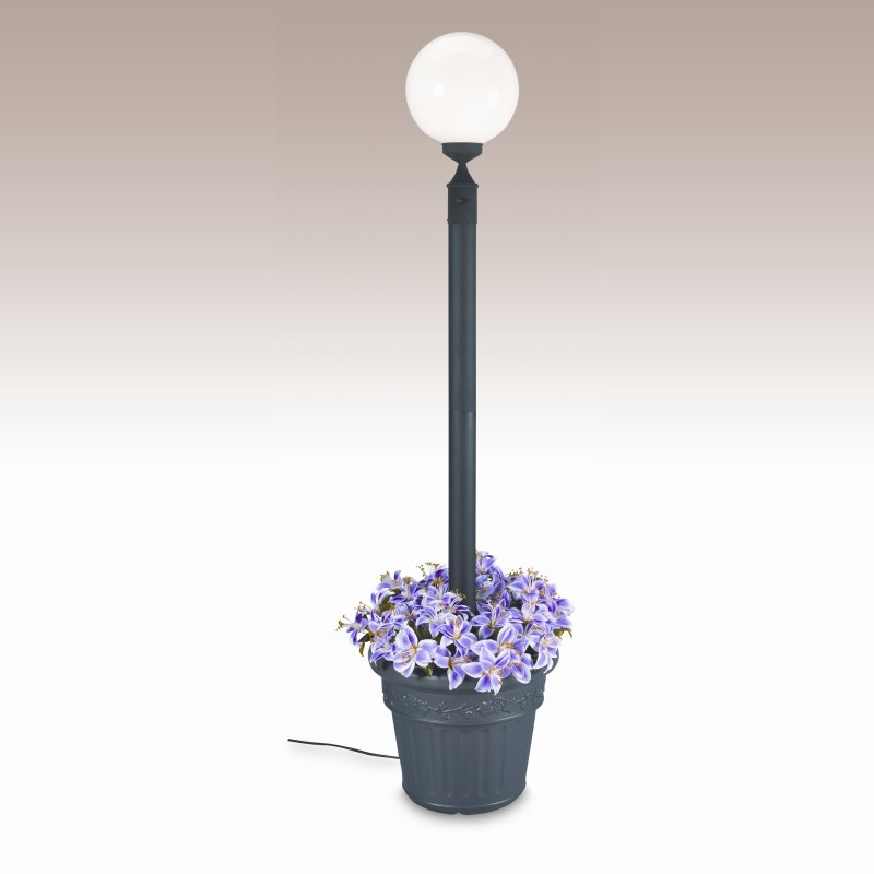 Post Mount Light Fixtures in Riverside California: European Globe Portable Planter Pole Lamp White