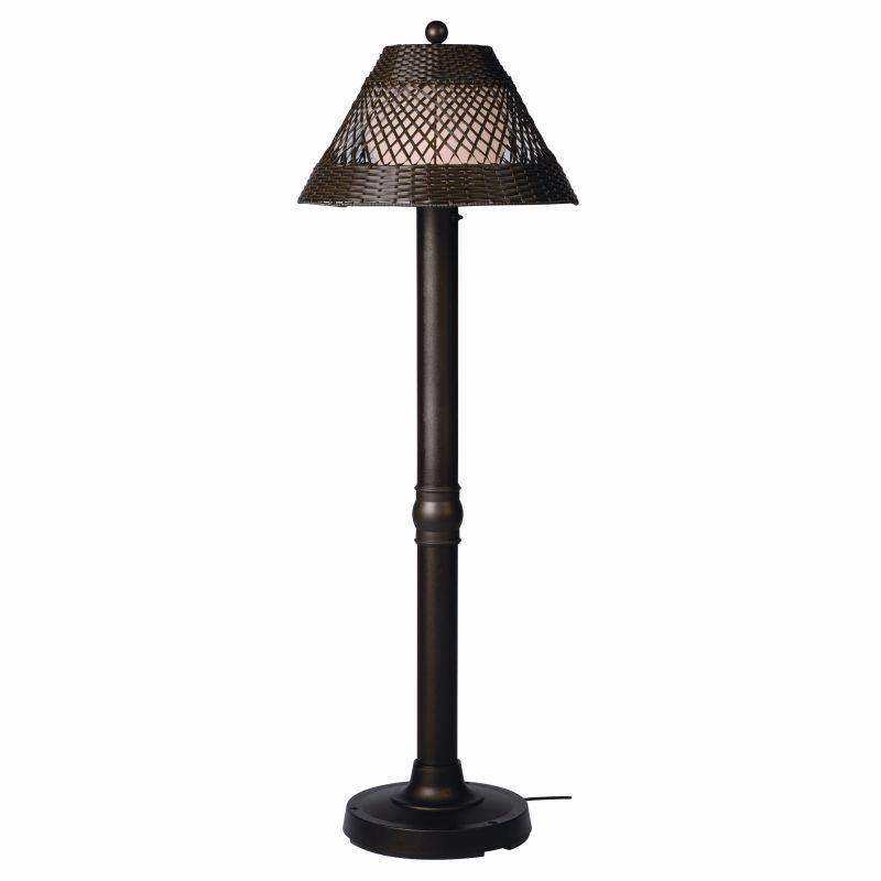 Free Standing Solar Patio Lanterns: Java 60 inch Outdoor Patio Lamp Walnut Wicker