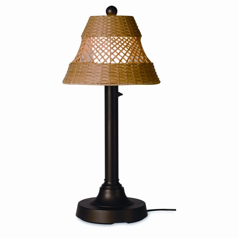 Lighting: Outdoor Table Lamps: Java Outdoor Table Lamp 30 inch Honey Wicker