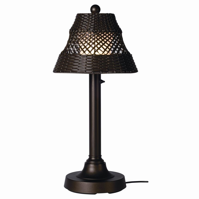 Lighting: Outdoor Table Lamps: Java Outdoor Table Lamp 30 inch Walnut Wicker