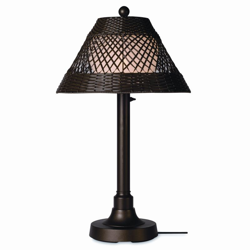 Lighting: Outdoor Table Lamps: Java Outdoor Table Lamp 34 × 2 inches Walnut Wicker