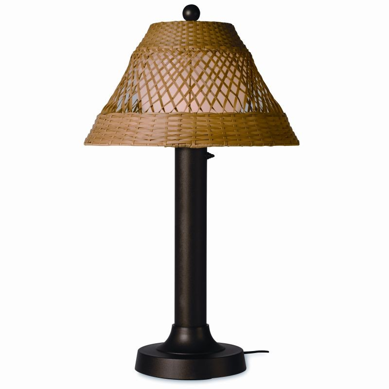 Lighting: Outdoor Table Lamps: Java Outdoor Table Lamp 34 × 3 inches Honey Wicker