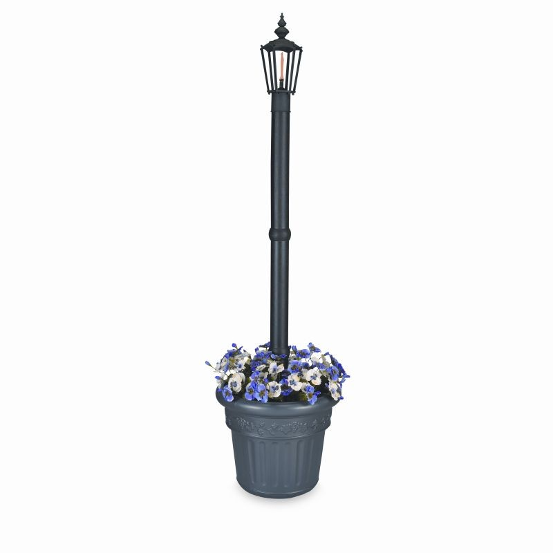 Street Lamp Post Prop: Newport Planter Torch Lamp Black with 1 Lantern