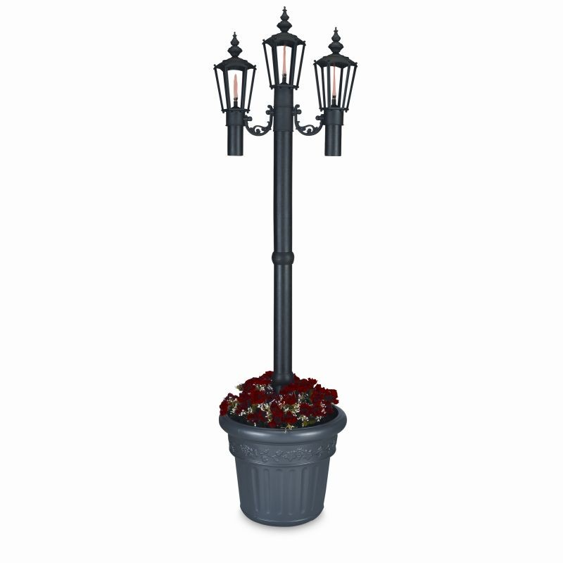 Street Lamp Post Prop: Newport Planter Torch Lamp Black with 3 Lanterns