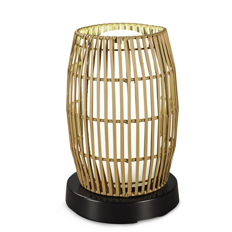 Outdoor Table Lamp Led: PatioGlo LED Outdoor Table Lamp White With Resin Bamboo Cover