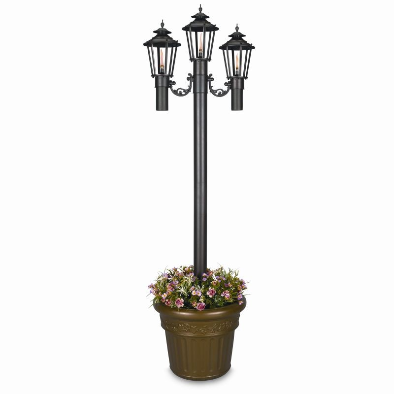 Williamsburg Citronella Flame Torch Planter Triple Black : Outdoor Torches
