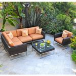Mirabella Modern Outdoor Wicker Club Seating Set 7 piece CA606-SET-7