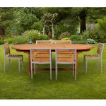 Modern Teak Aluminum Patio Dining Set 7 Piece with 96 inch Table CA-TSET-50-71