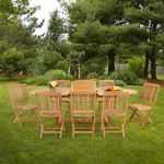 Modern Teak Patio Dining Set 9 Piece with Folding Chairs w/ Cushions CA-TSET-50-92