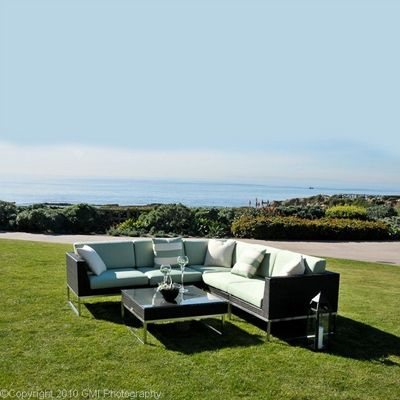 Mirabella Modern Outdoor Wicker Club Sectional Set 6 piece CA606-SET-6