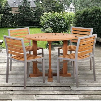 Modern Teak Aluminum Patio Dining Set 5 Piece With 36 Inch Table